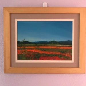 Original acrylic painting on canvas board in frame